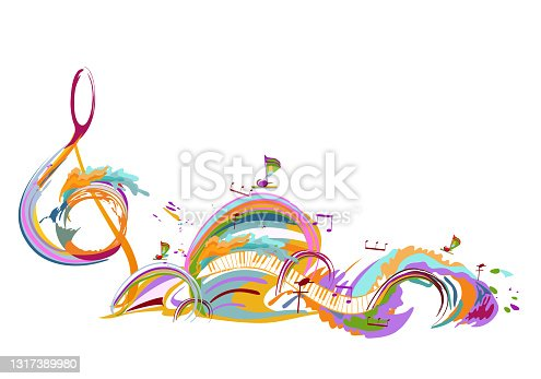 istock Abstract musical design with a treble clef and musical waves. 1317389980