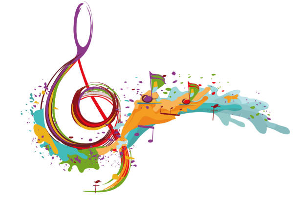 abstract musical design with a treble clef. - klucz wiolinowy stock illustrations