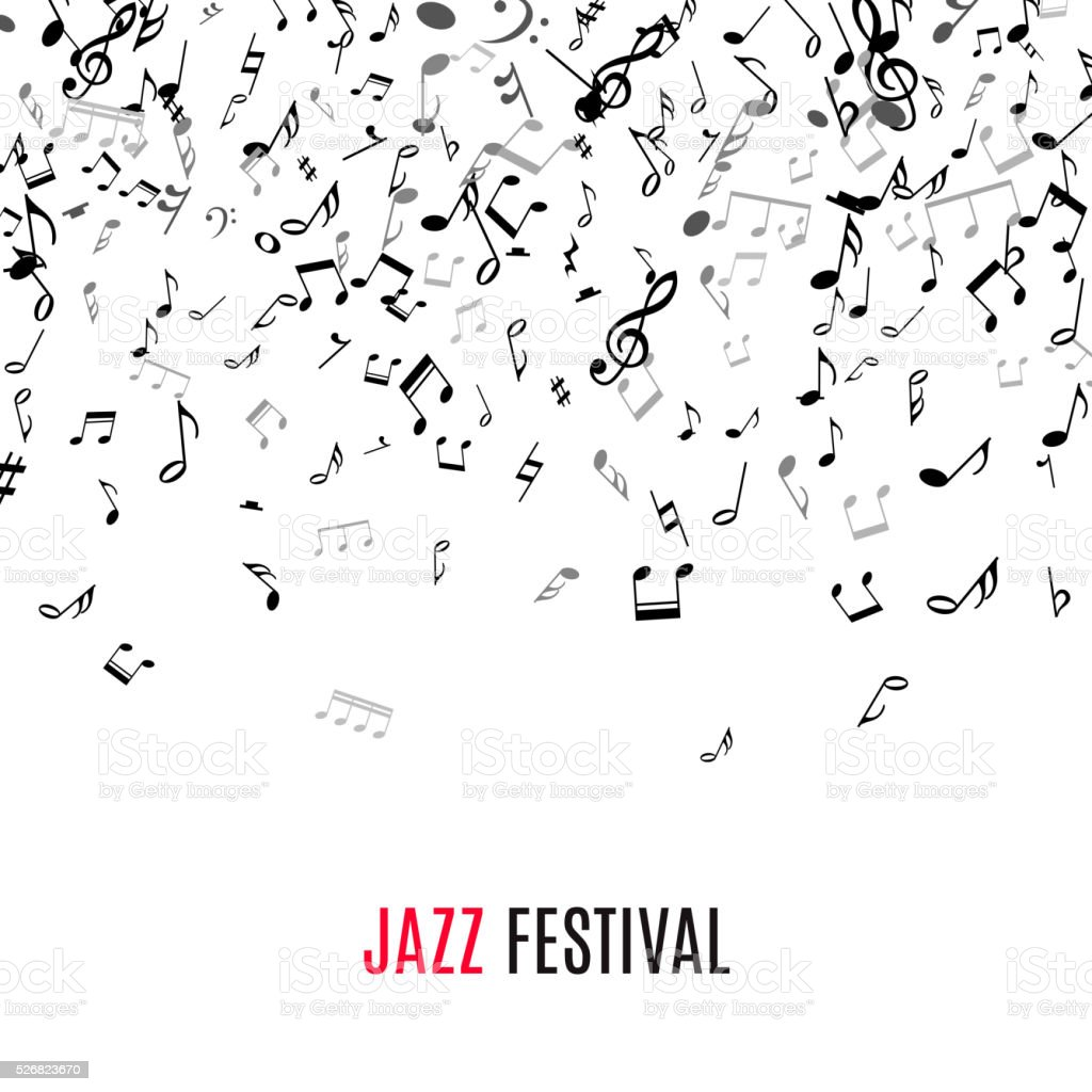 Abstract musical frame and border with black notes on white vector art illustration