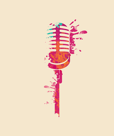 Abstract musical image of a bright microphone
