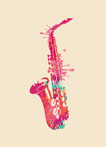Abstract musical image of a bright saxophone