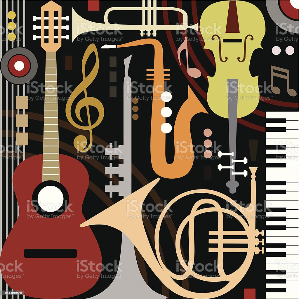 Abstract musical instruments vector art illustration