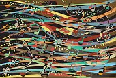 A brightly coloured abstract background with musical notes