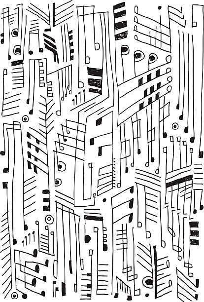 abstrakte musikalische anmerkungen - musiksymbole stock-grafiken, -clipart, -cartoons und -symbole