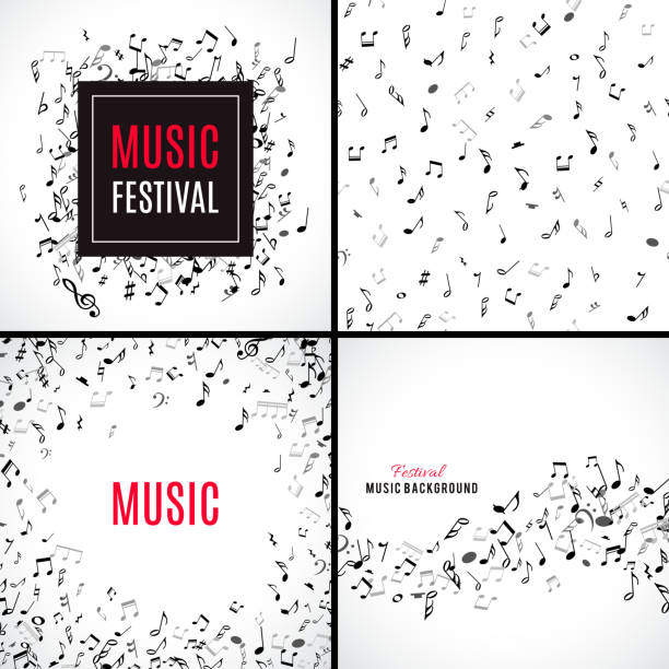 tło muzyczne gładki wzór z czarne uwagi na białym tle. - zapis nutowy stock illustrations