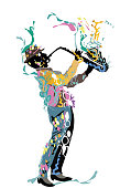 istock Abstract musician with a saxophone decorated with a treble clef and colorful splashes. 1179580406
