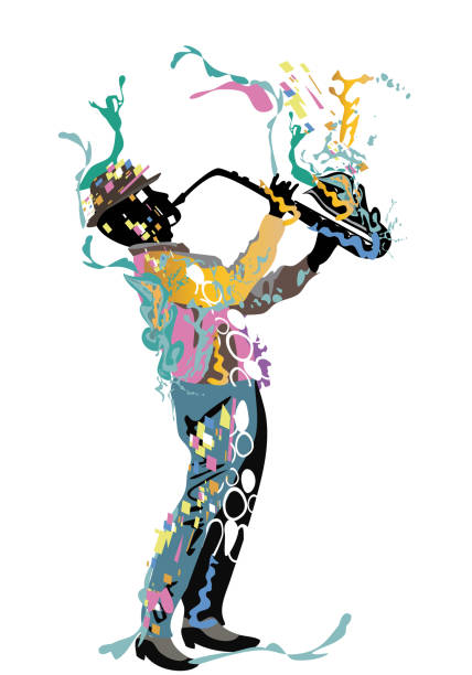abstract musician with a saxophone decorated with a treble clef and colorful splashes. - instrument perkusyjny stock illustrations