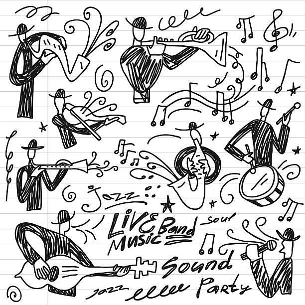 stockillustraties, clipart, cartoons en iconen met abstract musicians - doodles set - tenor
