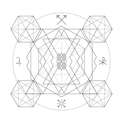 Abstract mystical geometry symbol. Linear alchemy, occult and philosophical sign.