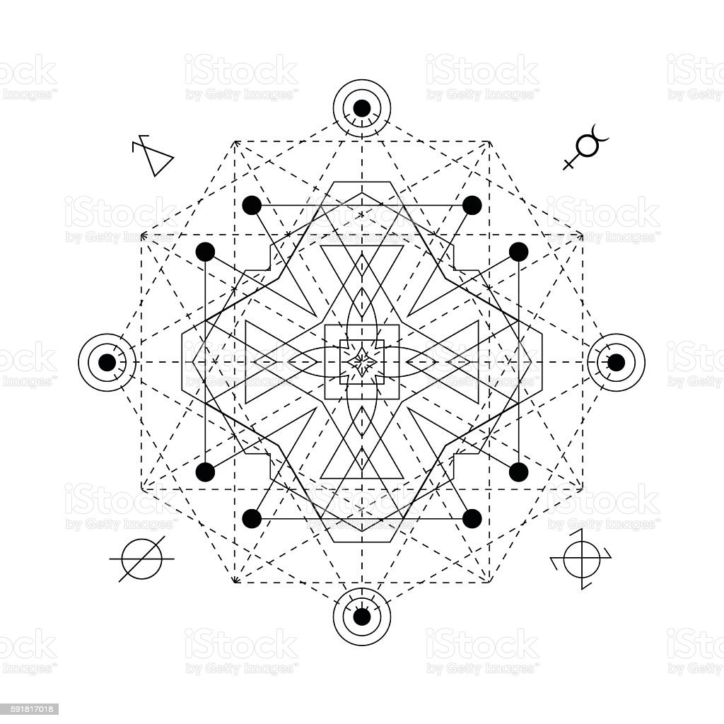 Abstract mystical geometry symbol. linear alchemy, occult and philosophical sign. vector art illustration