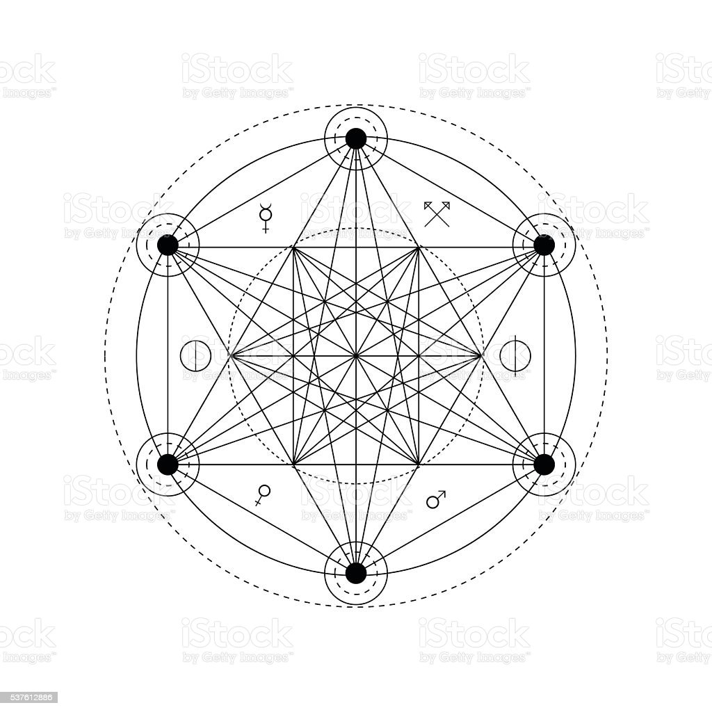 Abstract mystical geometry symbol. Vector alchemy, occult and philosophical sign. vector art illustration