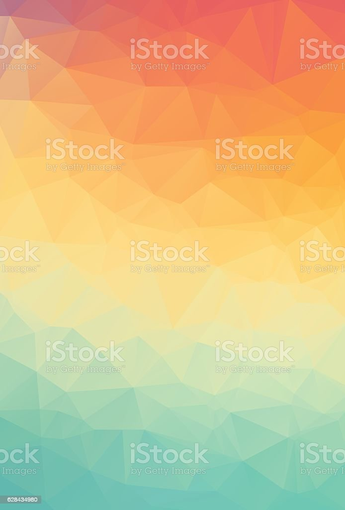 Abstract natural polygonal background. Smooth spring colors orange to green