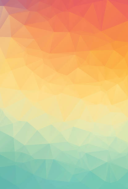 Abstract natural polygonal background. Smooth spring colors orange to green - Illustration vectorielle