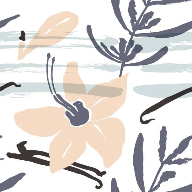 stockillustraties, clipart, cartoons en iconen met abstracte natuurlijke naadloze patroon. - vanille