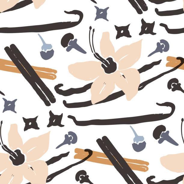 stockillustraties, clipart, cartoons en iconen met abstract natuurlijk naadloos patroon. - vanille