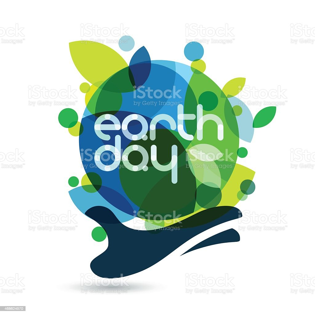Abstract nature themed hand holding earth background vector art illustration