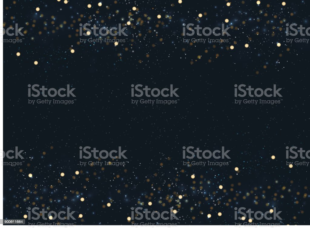 Abstract navy blue blurred background with bokeh and gold glitter header footers. Copy space. - Royalty-free Abstract stock vector