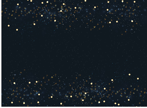 Abstract Navy Blue Blurred Background With Bokeh And Gold Glitter Header Footers Copy Space - Arte vetorial de stock e mais imagens de Abstrato