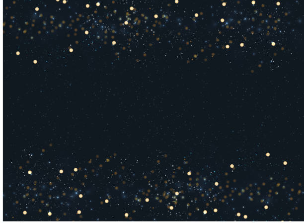 abstract navy blue blurred background with bokeh and gold glitter header footers. copy space. - holiday backgrounds stock illustrations, clip art, cartoons, & icons