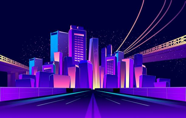 abstract neon city Vector horizontal illustration. Road going to night city, illuminated by neon lights. UV colors, urban road stock illustrations