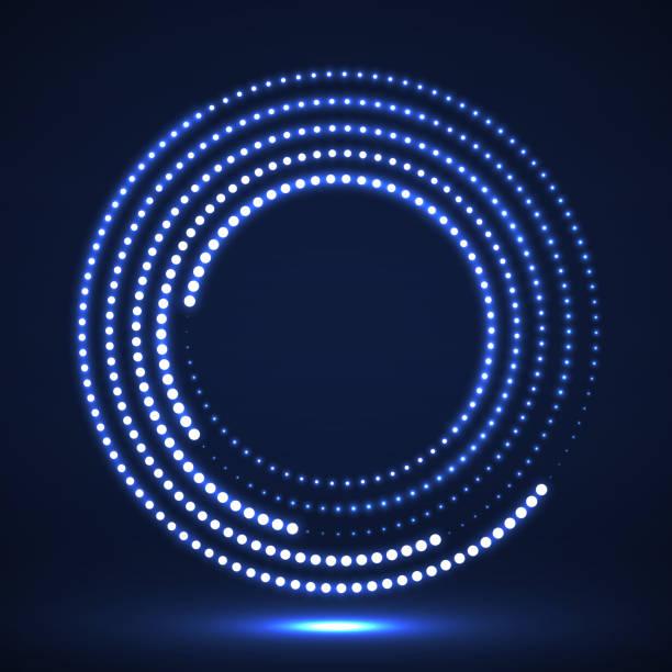 illustrazioni stock, clip art, cartoni animati e icone di tendenza di cerchi punteggiati al neon astratti - sfera lucida