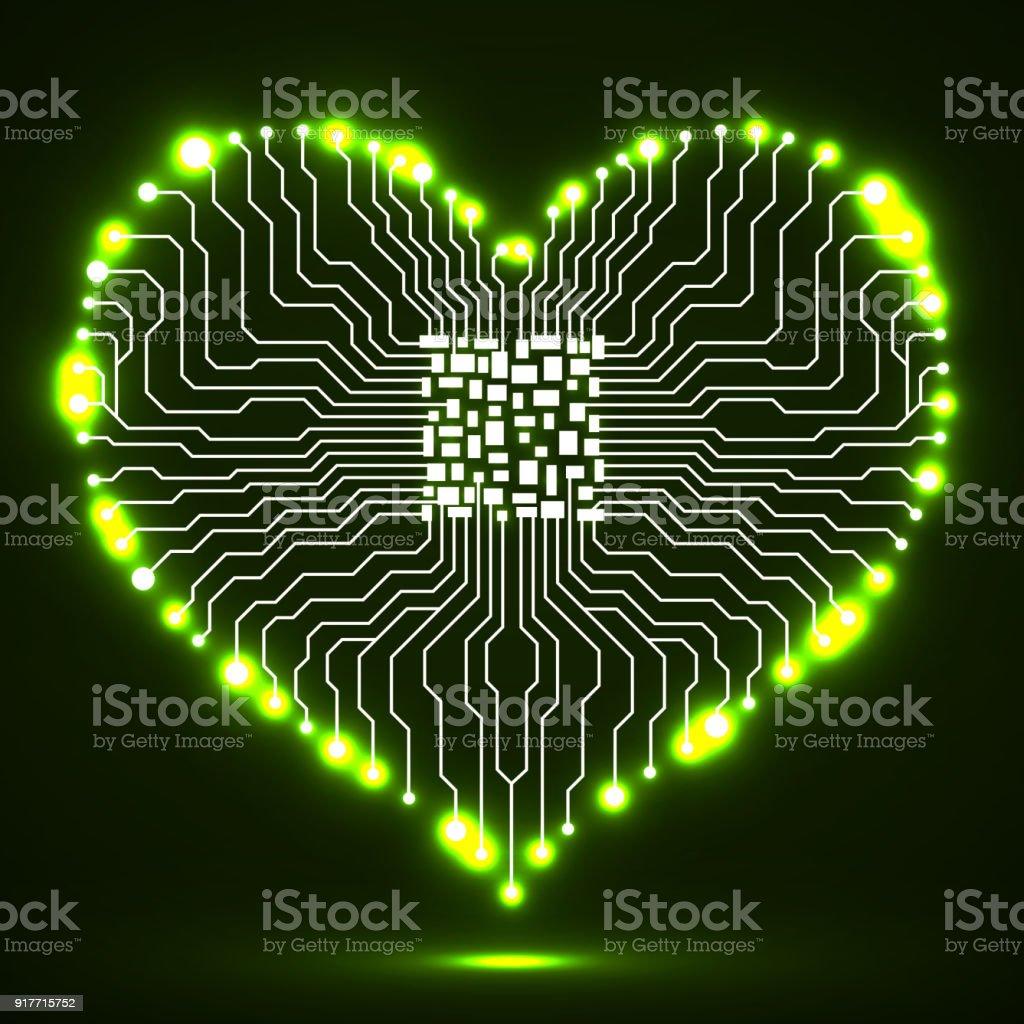 Circuito Eletronico : Ilustração de resumo de néon placa de circuito eletrônico com cpu