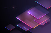 Abstract neon light geometry background