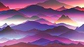 Abstract Neon Mountain Background - Vector Illustration