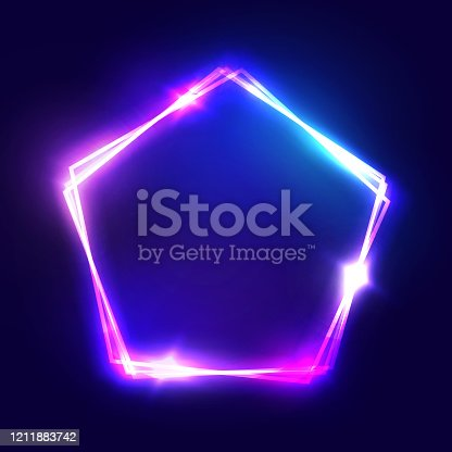 istock Abstract neon pentagon electric frame. Night Club Sign. 3d Retro Light Signboard With Shining Neon Effect. Techno Frame With Glowing On Dark Blue Backdrop. Colorful Vector Illustration in 80s Style. 1211883742