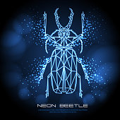 Abstract neon polygonal triangle Sabertooth Longhorn beetle. Bug neon sign. Entomological vector illustration