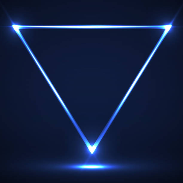 abstract neon triangle with glowing lines - triangle shape stock illustrations