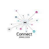 Abstract network connection. icon icon,  design. Vector Illustration