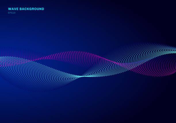 ilustrações, clipart, desenhos animados e ícones de projeto abstrato da rede com onda azul e cor-de-rosa da partícula. onda sadia das partículas dinâmicas que flui em pontos de incandescência fundo escuro. - escorrer
