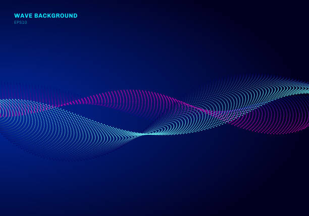 illustrazioni stock, clip art, cartoni animati e icone di tendenza di abstract network design with particle blue and pink wave. dynamic particles sound wave flowing on glowing dots dark background. - vitalità