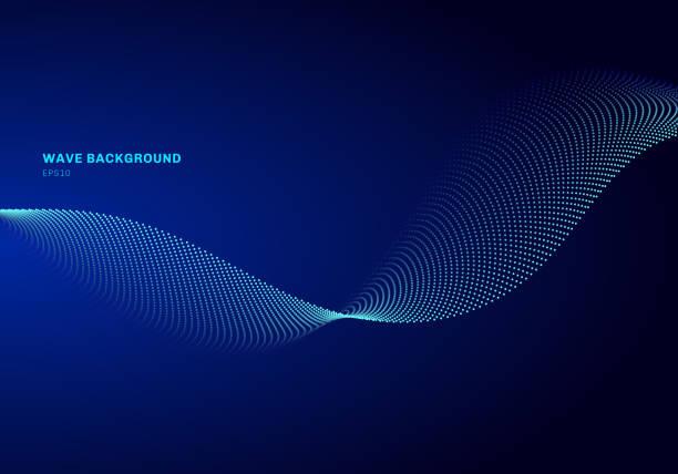 abstraktes netzwerkdesign mit teiligblauer welle. dynamische teilchen erklingen welle, die auf glühenden punkten dunklen hintergrund fließt. - sound wave stock-grafiken, -clipart, -cartoons und -symbole