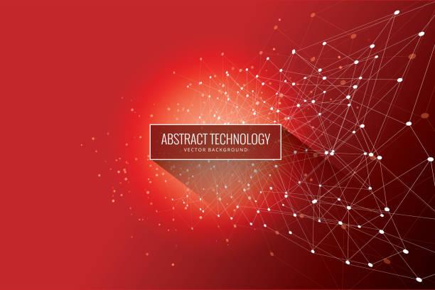 ilustrações de stock, clip art, desenhos animados e ícones de abstract network red background - vr red background
