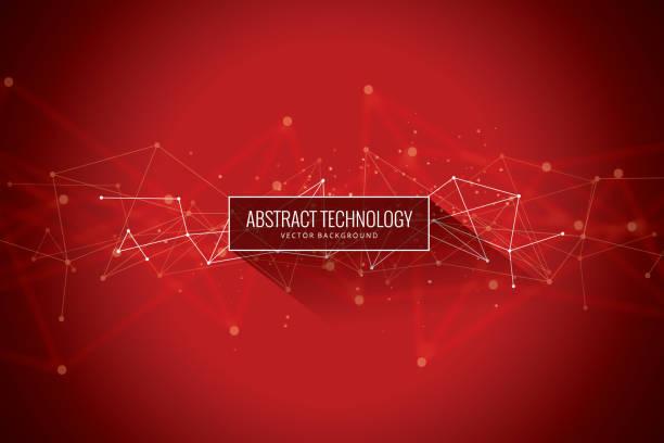 bildbanksillustrationer, clip art samt tecknat material och ikoner med abstrakta nätverk röd bakgrund - kö