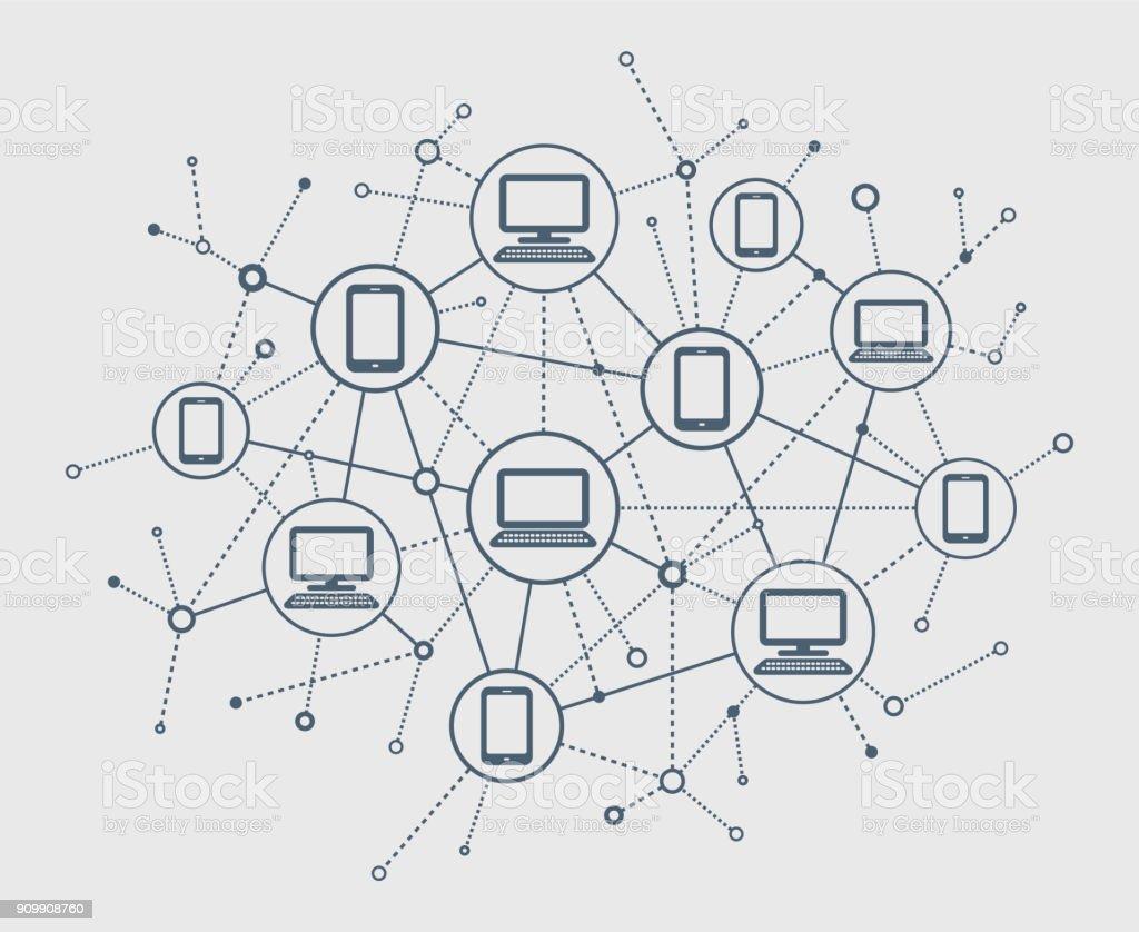 Abstract Network vector art illustration