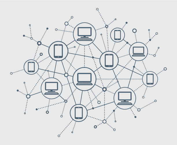 illustrazioni stock, clip art, cartoni animati e icone di tendenza di abstract network - networking
