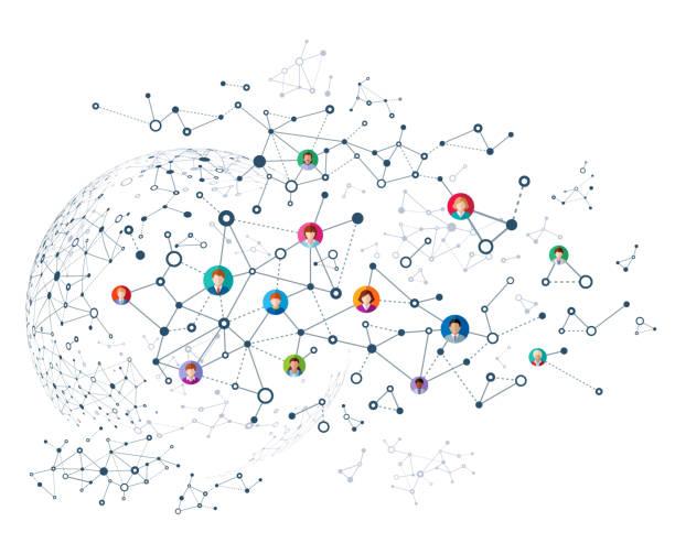 ilustraciones, imágenes clip art, dibujos animados e iconos de stock de abstract red - infografías de redes sociales