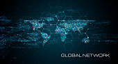 istock Abstract Network World Map Background 1327664603