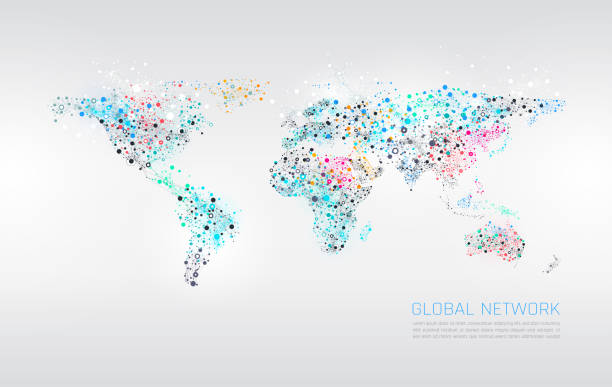 abstract network world map background - world map stock illustrations, clip art, cartoons, & icons