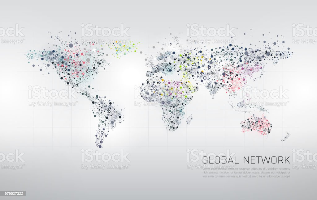 Abstract Network World Map Background vector art illustration