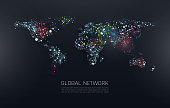 Abstract vector illustration of world network. File organized  with layers. Global colors used.