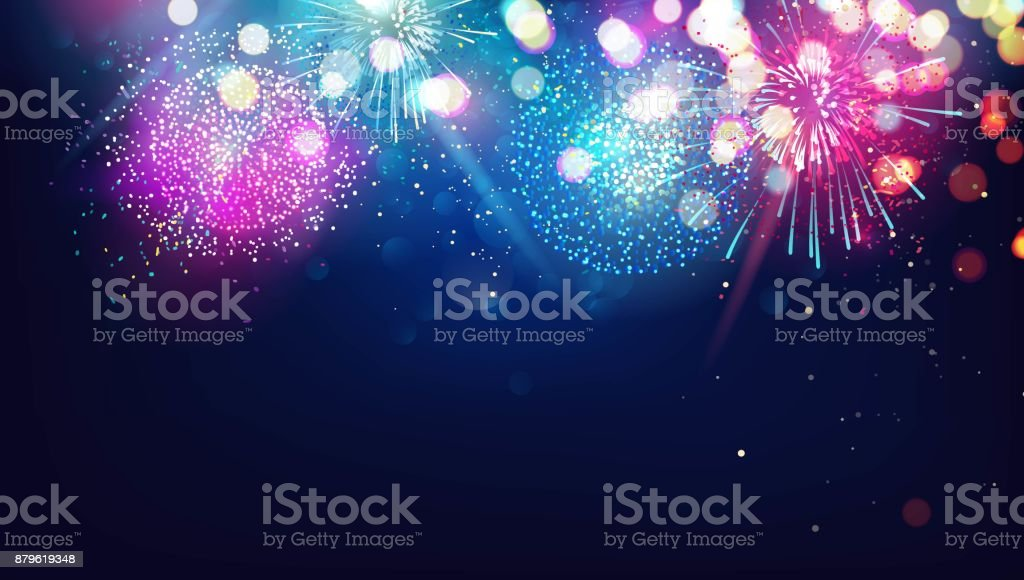 Abstract new year background with colorful fireworks and christmas lights. royalty-free abstract new year background with colorful fireworks and christmas lights stock illustration - download image now