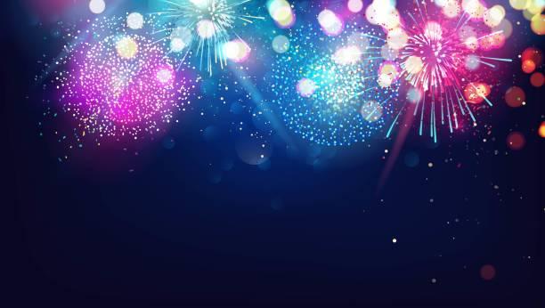ilustrações, clipart, desenhos animados e ícones de abstrato base de ano novo com fogos de artifício coloridos e luzes de natal. - eventos de gala