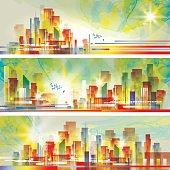 Buildings silhouette cityscape background Vector illustration