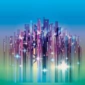 Abstract Night city skyline on blue sky with lights