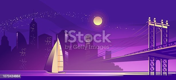 vector horizontal illustration of a silhouette of a night foggy city, lit by lights and moonlight, a bridge connecting two districts through a channel