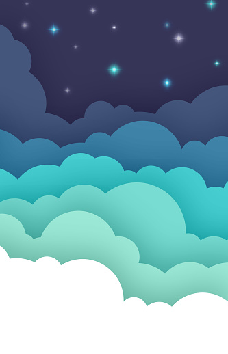 Night evening cloudscape with blue sky fluffy clouds cartoon background.